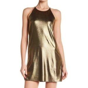 NWT Nordstrom Metallic Liquid Halter Shift Dress L
